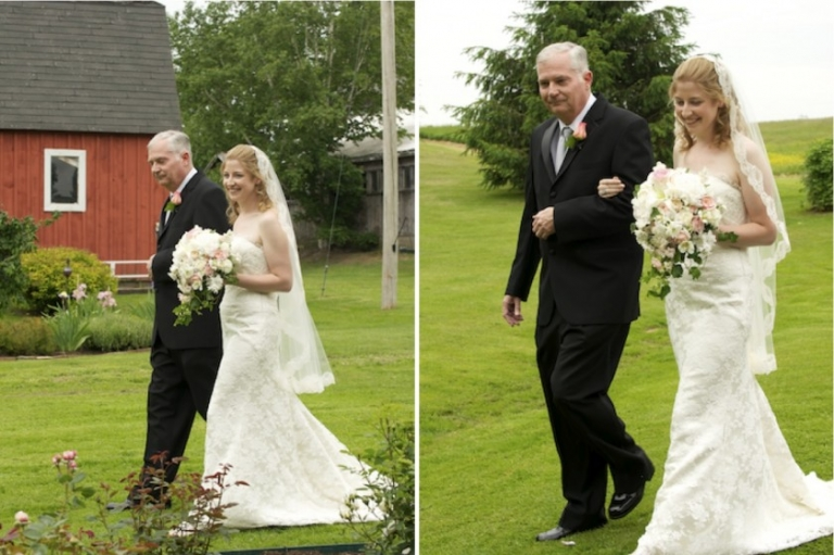 dad walks bride down the aisle at farm