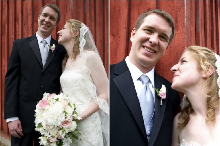 bride and groom smile after wedding