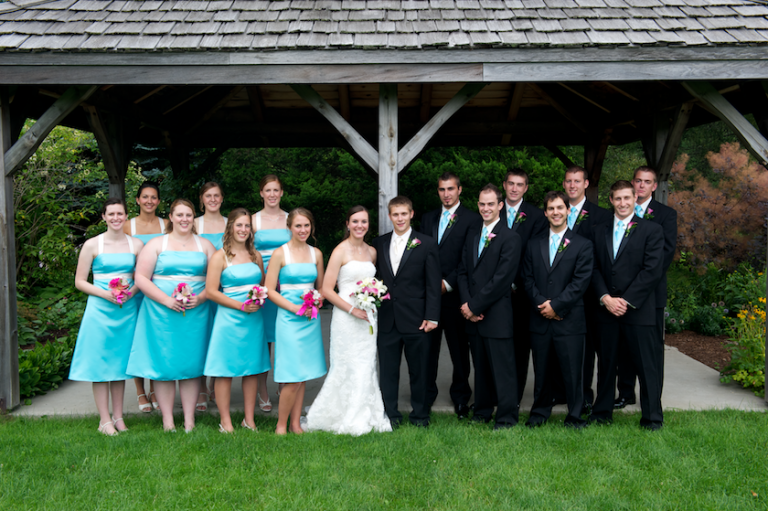 Maine bridal party at UMaine garden