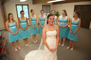 bride with her bridesmaids in Maine