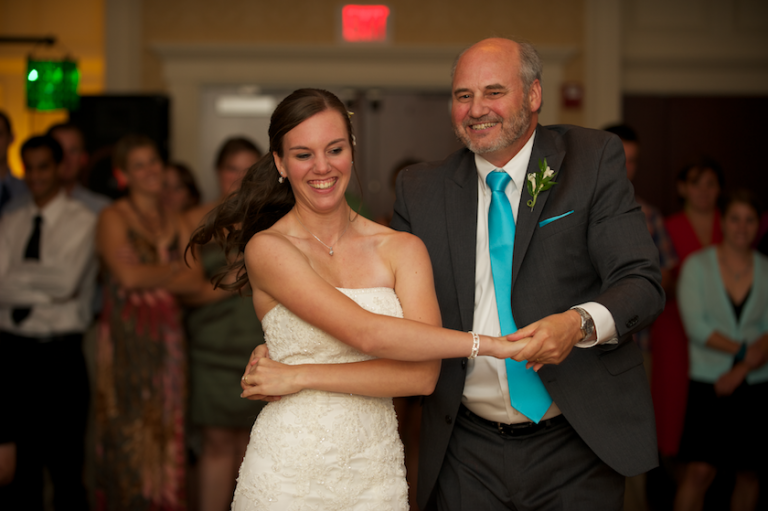 father daughter dance at Maine wedding reception