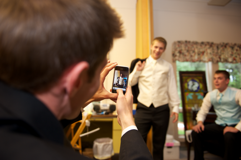 Maine groom gets picture taken with iPhone