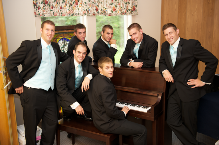 Maine groomsmen at the piano