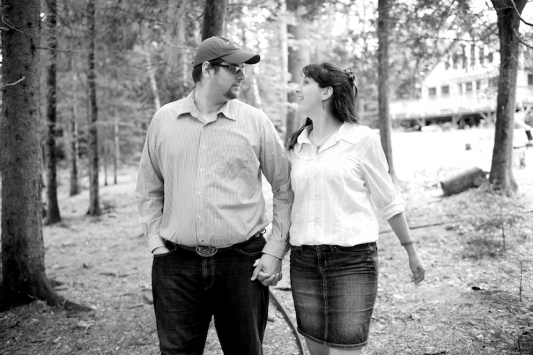 Maine bride and groom take walk in the woods