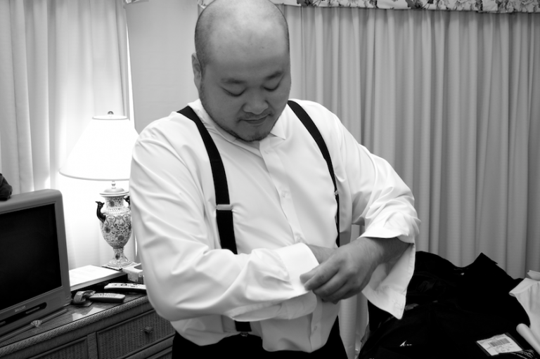 groom getting ready for Maine wedding