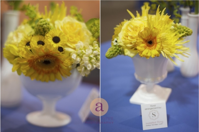 gerber daisy, roses, star of bethlehem in milk glass vases