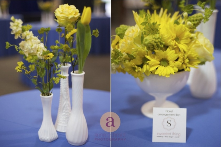 yellow daisies, tulips, roses in milk glass vases