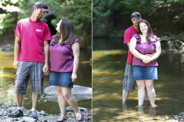 Maine engagement photo in a stream