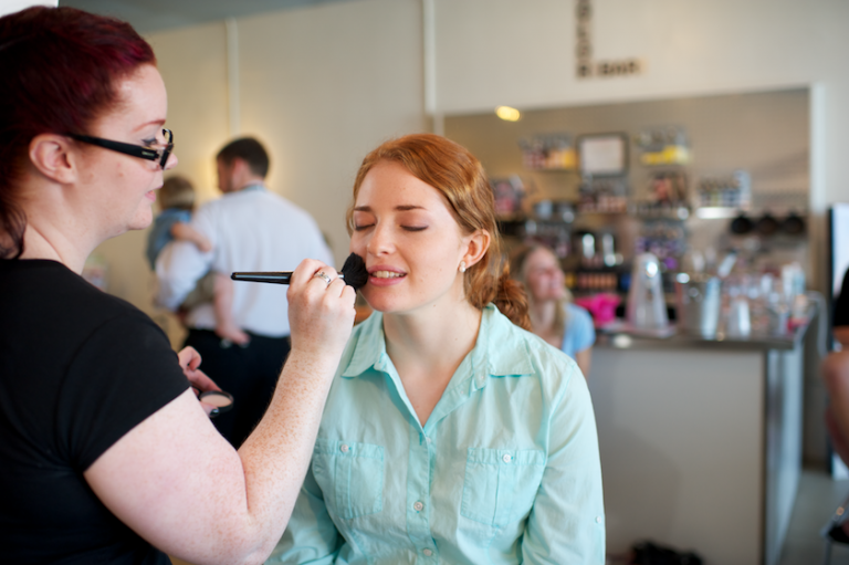 Maine bride gets make-up done