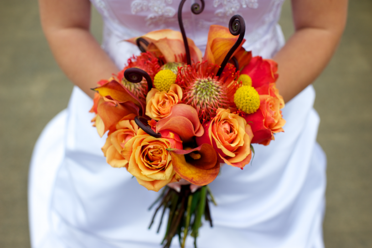 red orange and yellow Fall Maine wedding flowers