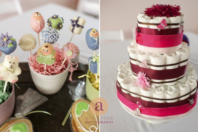 cake pops and diaper cake at Bangor, ME baby shower