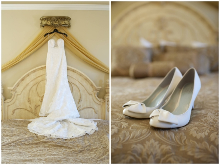 brides lace dress and vintage white shoes