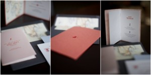 coral colored letterpress invitations with maps
