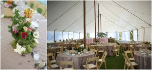 tented wedding with wooden chairs and pin tuck linens