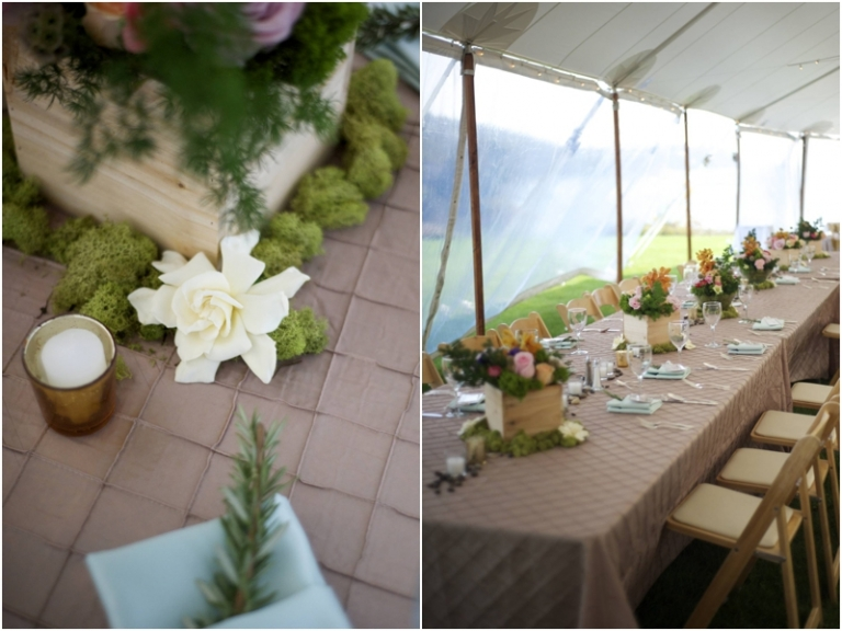 gardenia centerpieces and head table