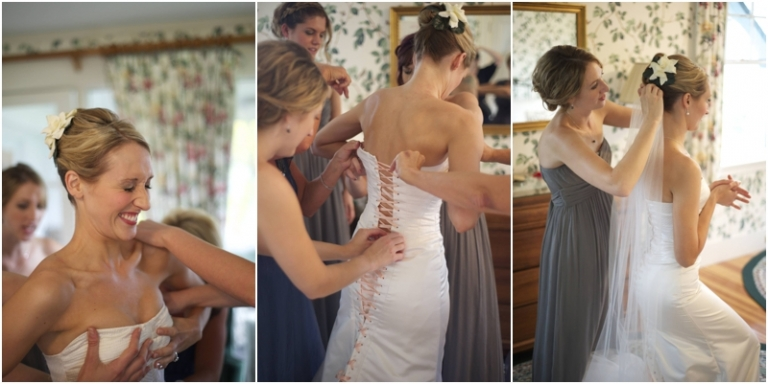 Maine bride putting on couture gown