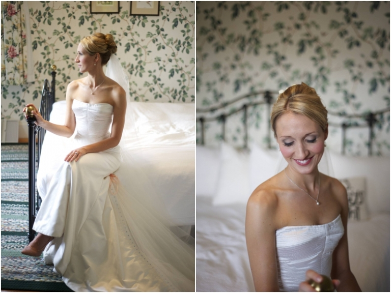 Maine bride has portraits taken on the bed
