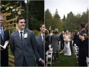 grooms first look at his bride in Maine