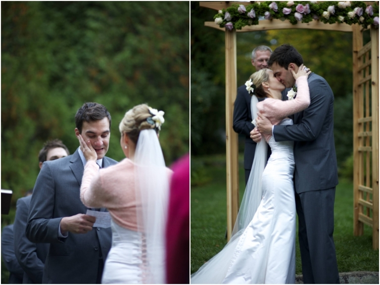 bride wipes grooms tears and kiss