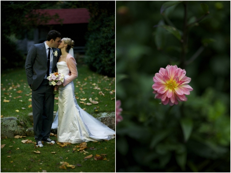 fall bridal portraits in Maine with dahlias