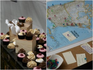 cupcake display and world map guest book with pins