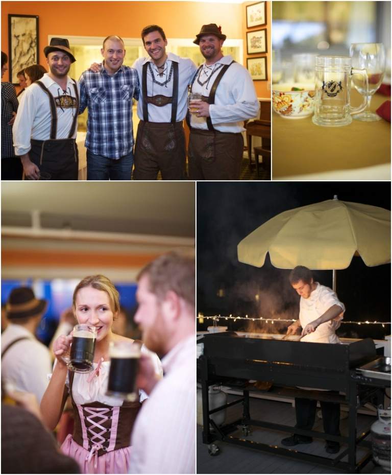 Maine destination wedding oktoberfest themed rehearsal dinner at the Asticou Inn