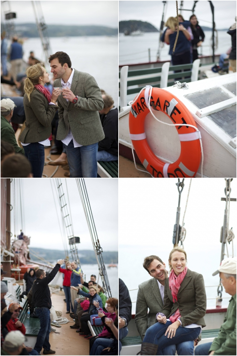 Maine wedding party takes a sail on the Margaret Todd in Bar Harbor