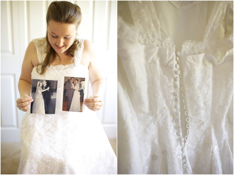 bride wears lace gown worn by her grandmother
