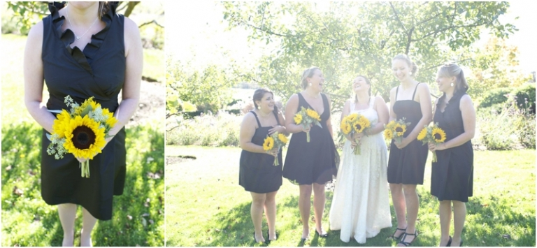 black brides maids dresses and sunflower bouquet