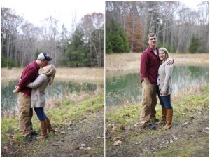 engagement photos in the Maine woods