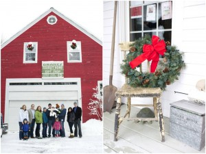 red barn winter family photos in Maine by Anne Schmidt Photography