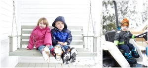 grandkids on the porch swing and tractor for winter family photos in Maine
