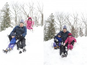 sliding down the hill with grandpa for winter family photos in Maine
