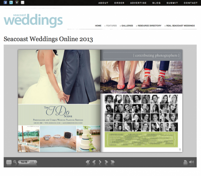 Maine wedding photographers contributing to Seacoast Weddings magazine