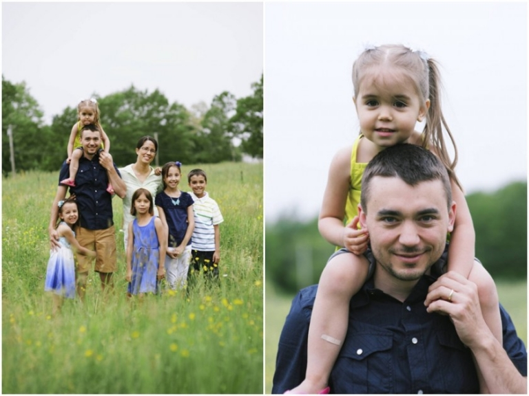 family photos in a field of yellow flowers