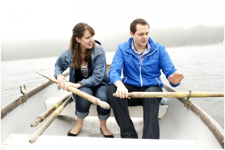 Maine engagement photos in a row boat