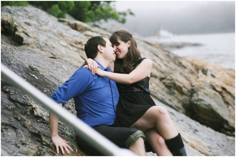 Maine engagement photos on the ocean