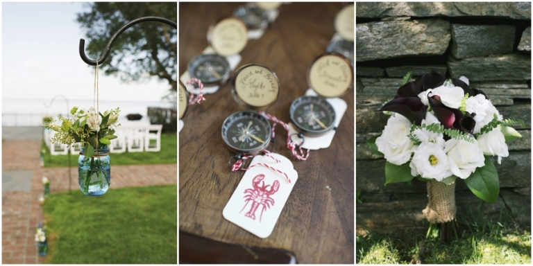 compass wedding place cards in Bar Harbor Maine