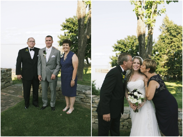 bride and groom with parents at Bar Harbor Maine wedding