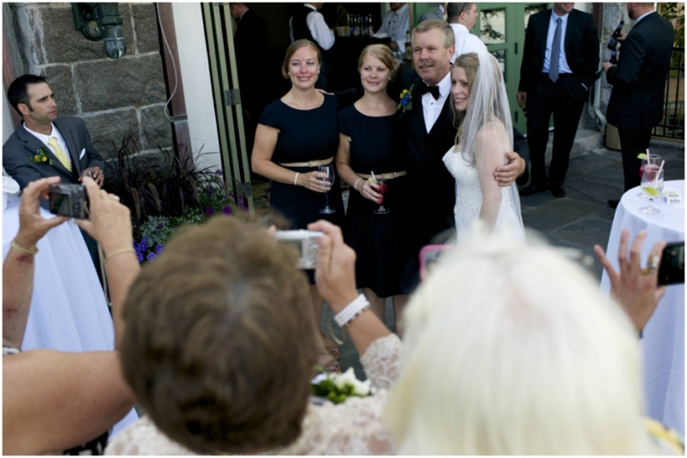 candid of father of the bride with his daughters at Bar Harbor Maine wedding