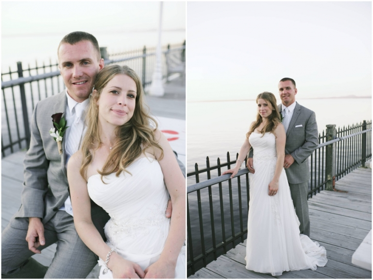bride and groom portraits on the dock at Bar Harbor Maine wedding
