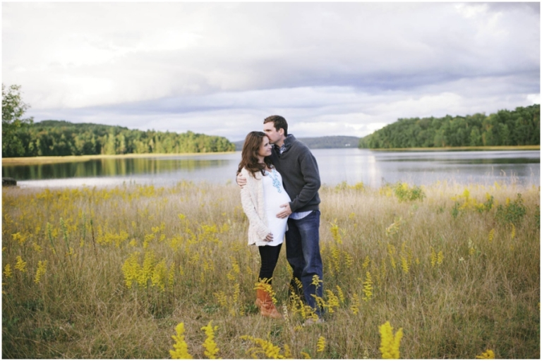fall themed maternity photos by a river in Maine