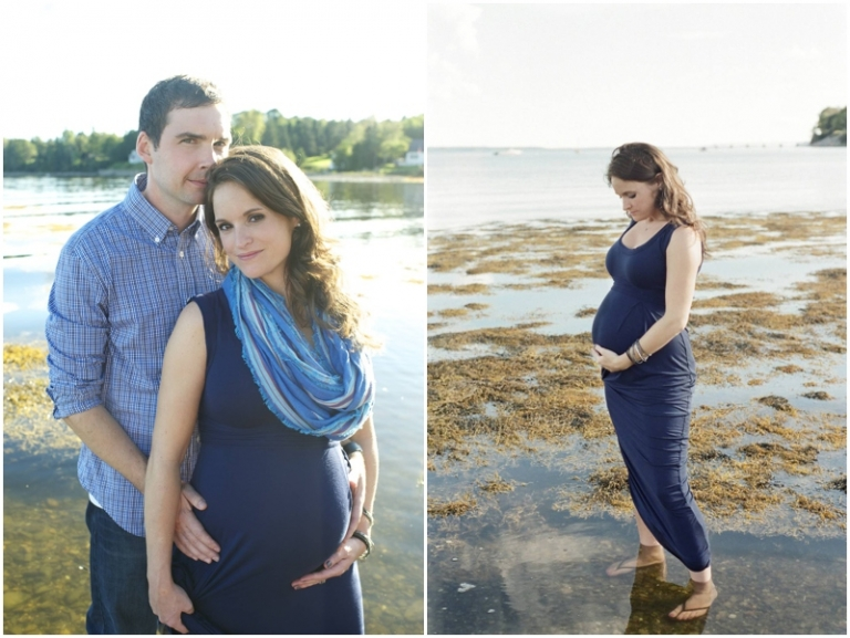 Fall maternity photos on the beach in Maine