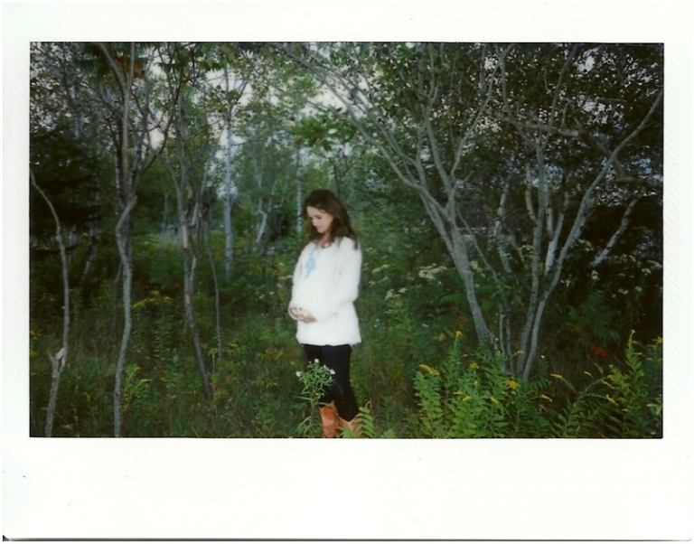 polaroids from a maternity shoot in maine