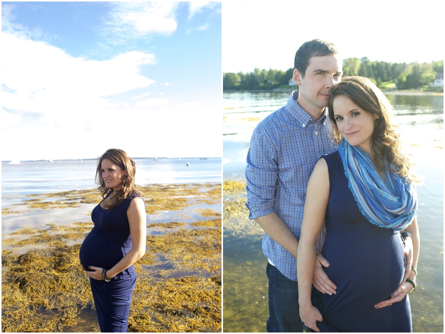 nautical beach maternity photos in Maine