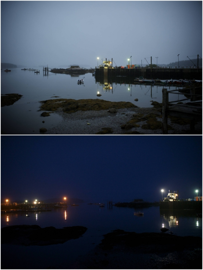 Stonington, Maine harbor at night