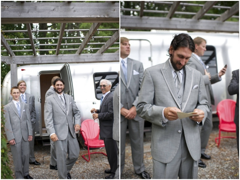 groomsmen getting ready outside Airstream