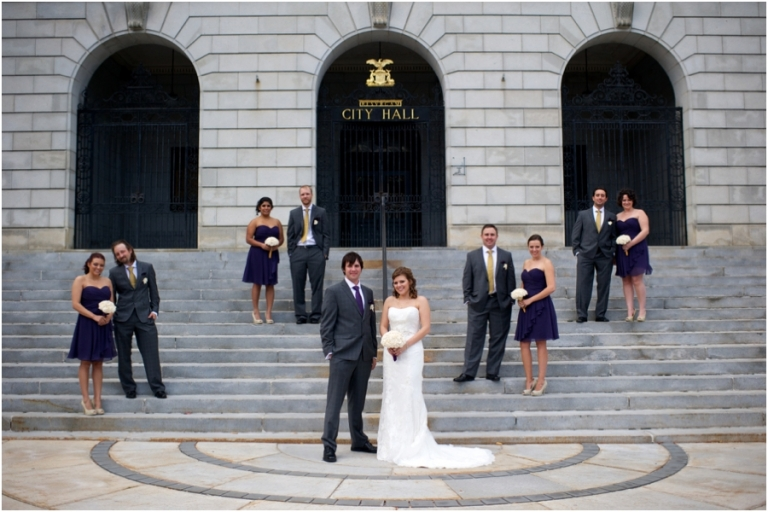 bridal party at City Hall Portland, Maine