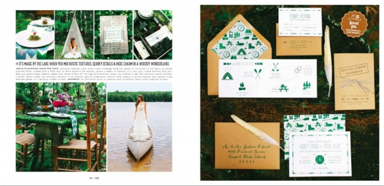 summer camp forest wedding on lake in Maine