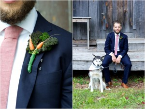 carrot boutonniere on groom